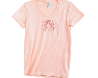 Womens Apricot/Peach Kitty Tee
