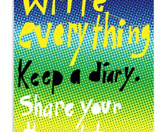 Write everything, Keep a diary - Inspirational Postcard (Set of 5)