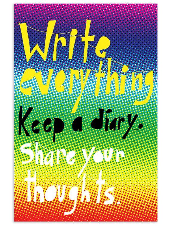 Write everything, Keep a diary - Inspirational Postcard (Set of 5)