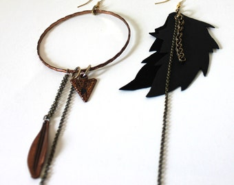 Hoop & Feather Asymmetrical Earrings with Copper Arrowhead and Chain