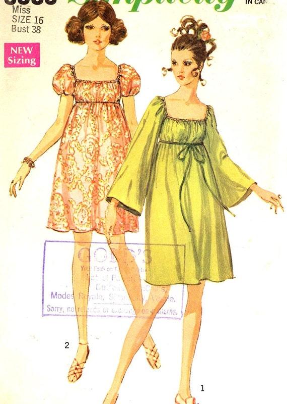 60s mod dress empire waist vintage sewing pattern simplicity for Empire waist wedding dress patterns