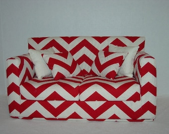 18 Inch  Doll  Couch - Chevron - Red - White Modern Handmade Doll Furniture