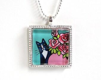 Tuxedo Cat Jewelry in Aqua Blue/ Animal Art Glass Pendant by Susan Faye