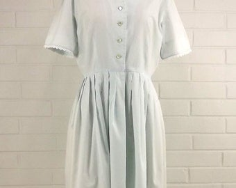 Vintage 60's Shirtwaist Dress Button Down Bodice Pleated Full Skirt Summer Dress in Soft Mint Short Sleeves with Trim Feminine and Girly