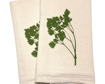 Pair of Flour Sack Cotton Napkins - Parsley design in olive green