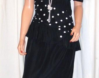 Vintage Gaccina Black White Polka Dot Dress 8