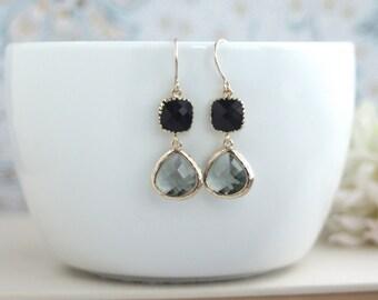 Black Diamond Grey Glass Drop, Jet Black Glass Drops Dangle Earrings. Modern Everyday. Bridesmaids Jewelry Earrings. Grey & Black Wedding