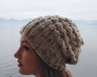 Slouchy Knit Beanie. Heathered Textured Off White Beanie. Womens Winter Knit Beanie. Winter Knit Slouchy Hat. Christmas Gift. Winter Hat