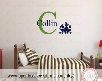 Nautical Pirate Ship Wall Decal with Personalized Initial and Name Monogram for Boy Baby Nursery Bedroom or Playroom  22h x 32w INA0059