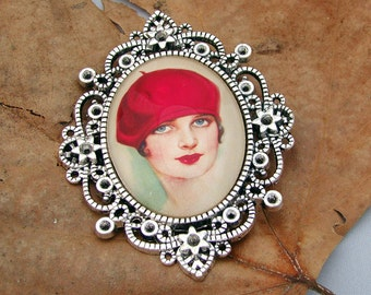 The Girl in the Red Beret Cameo Brooch Pendant