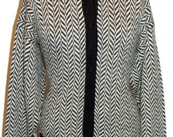 Vintage Chevron Pattern Alpaca Wool Sweater Vintage Wool Sweaters Alpaca Wool Sweaters Cardigan Wool Sweaters and Cardigans Alpaca Knitwear