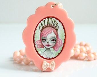 sale - Calavera - Dia de los muertos sugar skull day of the dead pink cameo necklace jewelry pop surrealism lowbrow art by KarolinFelix