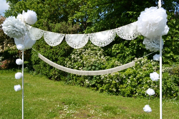 Gorgeous laser cut doily bunting