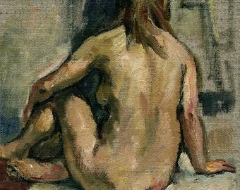 Slight Twist, Female Nude. Small Oil on Canvas, 8x6 Original Oil Painting, American Realist Fine Art, Signed Original