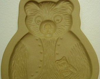 Teddy Bear Mold 1984 Brown Bag Cookie Art Vintage Clay Shape