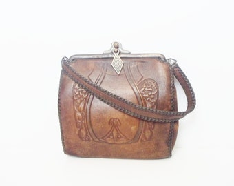 Vintage 1920s Bosco Arts and Crafts Brown Leather Tooled Floral Handbag