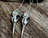 RAVEN BIRD SKULL with Rose and Vine - Very Long Shoulder Duster Earrings - Still Light and Very Wearable - Dramatic