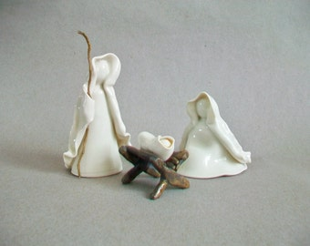 Nativity Set - 3pc Plus Manger  - Translucent White - Wheel Thrown, Hand Sculpted Porcelain - Made to Order - Unique - OOAK