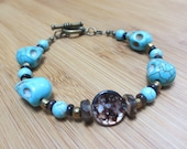 Brown Cocoa Shell Bracelet, Turquoise Skull Beads, Turquoise Howlite, Bronze Czech Glass, Brown Shell Heishi, Gemstone and Shell, SRAJD