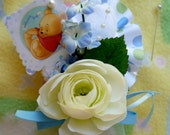 Baby Shower Corsage...Mom to Be Corsage....Classic Pooh Bear Corsage...Boy, Girl or Neutral...Baby Sock Corsage..Pooh Bear Baby Shower