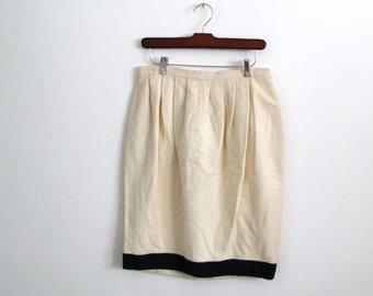 white black skirt - 80s vintage krizia minimalist designer cream beige silk color block bubble high waisted knee length short small medium
