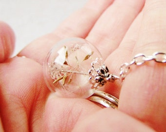 Dandelion Seed Glass Orb Terrarium Necklace, Small Orb In Silver or Bronze, Romantic Bridesmaids Gifts