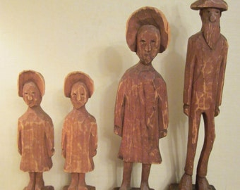 Rustic Folk Art Family - Mountain People by Unknown Carver