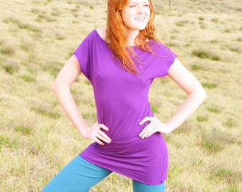 Wide Neck Tunic Top - Short Sleeve - Fitted Top - Purple - Eco Friendly - Several Colors - Organic Clothing