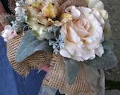 Bridal bouquet for rustic or woodland wedding, burlap trimmed bride's silk flower bouquet, cream, beige, pale pink, gray