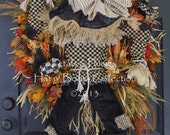 "PRE-ORDER for ""2017""Delivery-""Scarecrow "" Fall Wreath-Thanksgiving-Halloween-Petals & Plumes Original Design© Limited Qty of 3 Pre-Orders"