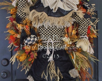 """PRE-ORDER for """"2017""""Delivery -""""Scarecrow Wreath"""" Fall Wreath-Thanksgiving-Halloween-(See Production Time) Petals & Plumes Original Design ©"""
