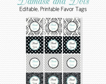 Bridal Shower Favor Tags, Damask and Dots, Birthday Party Favor Label, Black and White, Robin's Egg Blue, Graduation - Editable, Printable