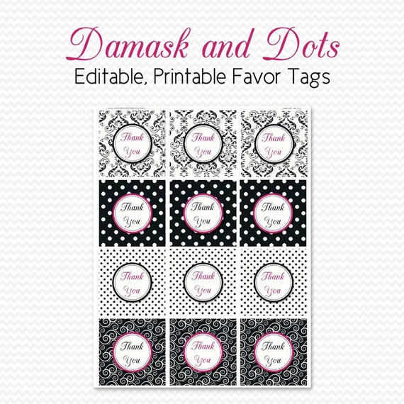 Bridal Shower Favor Tags, Damask and Dots, Birthday Party Favor Label, Black and White, Hot Pink, Graduation - Editable, Printable, Instant