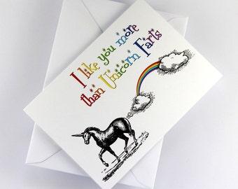 "Unicorn Card ""I Like You More Than Unicorn Farts"" Vintage Style, Funny Valentine Card, Friendship Card"