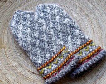 knitted wool mittens, handknit latvian mittens, patterned gray white yellow mitts, knit colorful winter gloves, nordic arm warmers, muffs