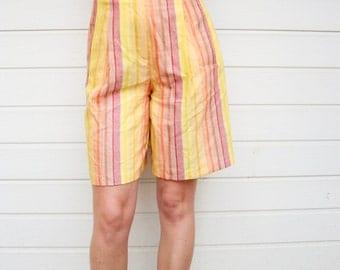 80s Vintage Sunrise in Stripes High Waist Linen Long Bermuda Shorts