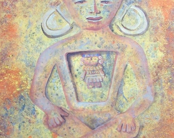 "Original Spiritual Art soft pastel colors painting on paper meditaing Mayan God 19"" x 25"" modern home decor"