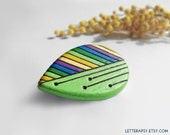 Painted wood leaf brooch, hand made green pin, delightful gift for nature lovers - MADE to ORDER