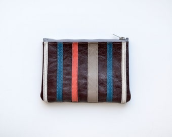 SALE! Stripe Leather Zipper Wallet Teal Coral Burgundy Handmade Stripped Applique leather Accessory Small Pouch