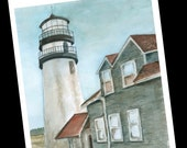 8 Blank Notecards Watercolor Cape Cod Lighthouse Highland Light Package of 8 Thank You Cards Thinking of You Greeting Card