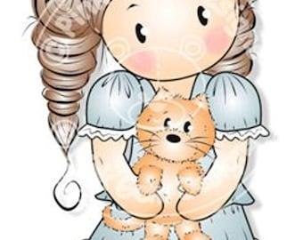 Digital Digi Stamp Chloe with Kitten - Girls Birthday, Mothers Day
