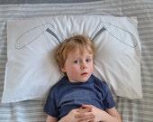 Bunny ears screen printed pillowcase screenprinted pillow