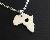 Africa Necklace - Sterling Silver Necklace - Africa Charm - Map Necklace - I heart Africa - I love Africa