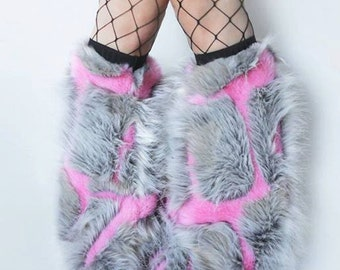 pink patches block fur classy upscale Fuzzy Leg Warmers fluffy boot covers rave fluffies gogo rave fluffies
