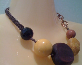 Bohemian Chunky Beaded Choker Necklace Hand Carved Wood and Huge Faux Amber Beads Round Beaded Necklace