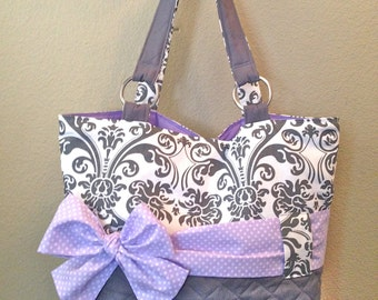 Personalized Diaper Bag In Lavender & Grey Damask.  Interchangeable Sash in Polka Dot or Solid Lavender