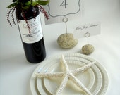 6 Rustic Place Card Holders and 1 Menu/Table Number Holder Set Using Maine Beach Stone