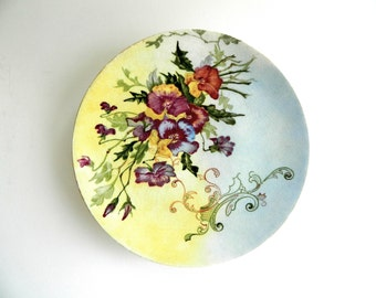Antique hand painted plate pansy and scroll art nouveau Edwardian viola floral serving cake flowers and leaves ombre glaze dated Dec 1903