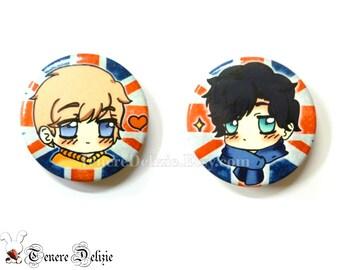 Cute BBC Sherlock Holmes pin - chibi button set of Sherlock and Watson (2)