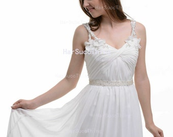Spaghetti Straps V-neck Floor-Length Party Dress, Chiffon Evening Dress
